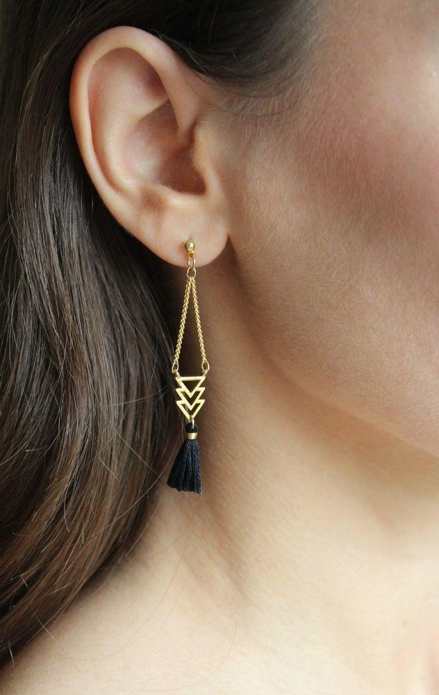 Image of Boucles d'oreilles Pompon noir / Black Pompon earrings