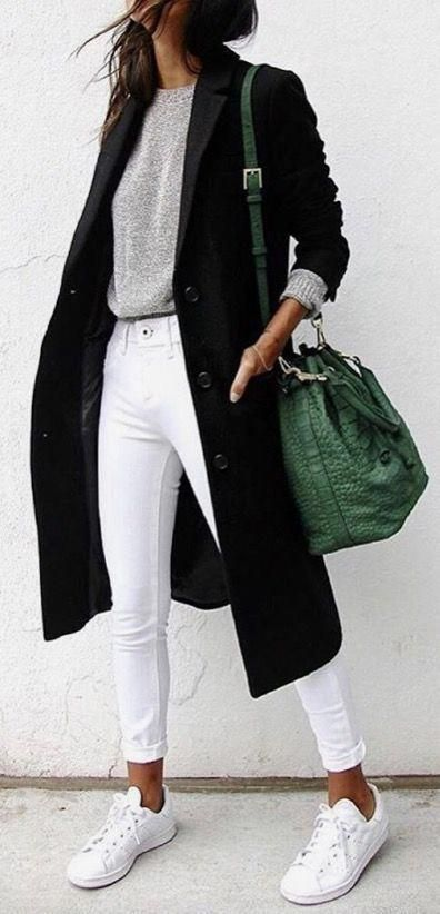 grey sweater with white jeans, sneakers and a black trench coat. Visit Daily Dress Me at dailydressme.com for more inspiration                     women's fashion 2018, fall fashion, winter fashion, casual outfits, school fashion, women's blouses, sweaters, jackets, coats, sneakers