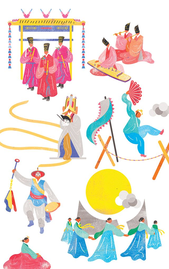 GREAT HERITAGE MEETS THE WORLD - illustrations for Korea's National Gugak (=traditional music) Institute by Joseph Park