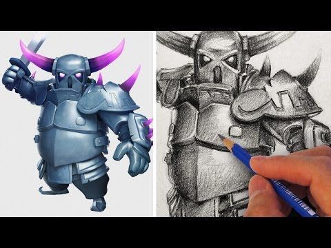 How to Draw PEKKA with Pencil Step by Step - YouTube