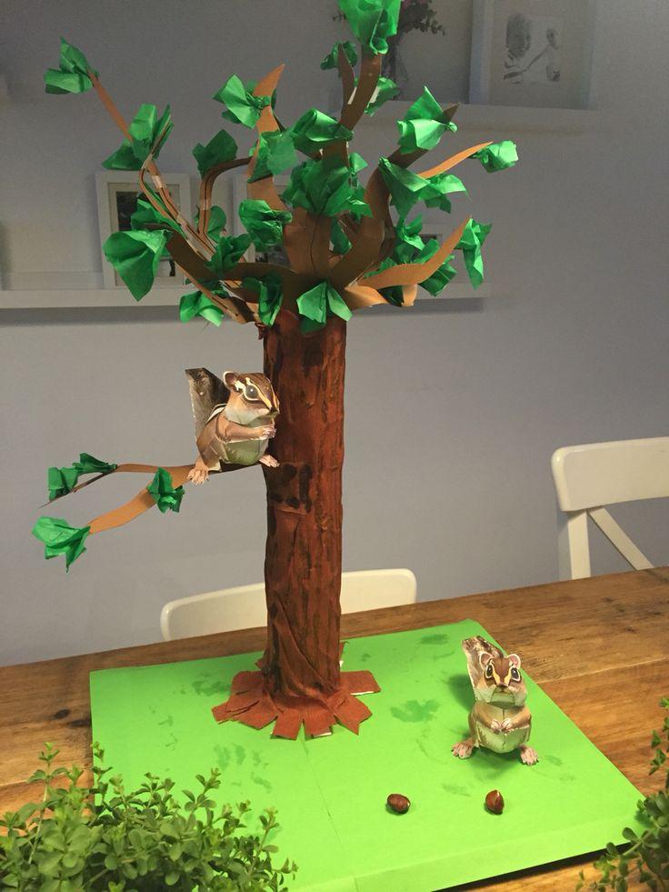 Sinterklaas surprise met bos als thema. Google op canon creative park voor sjablonen voor eekhoorntjes of veel andere diertjes!
