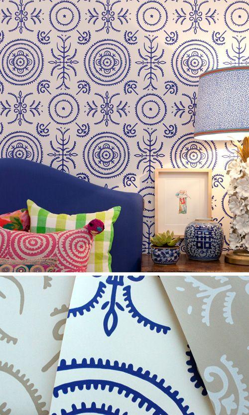 Anna Spiro wallpaper...Yum: Gingers Jars, Anna Spiro, Annaspiro, Interiors, Colors, Porter Paintings, House, Bedrooms, Wallpapers Design