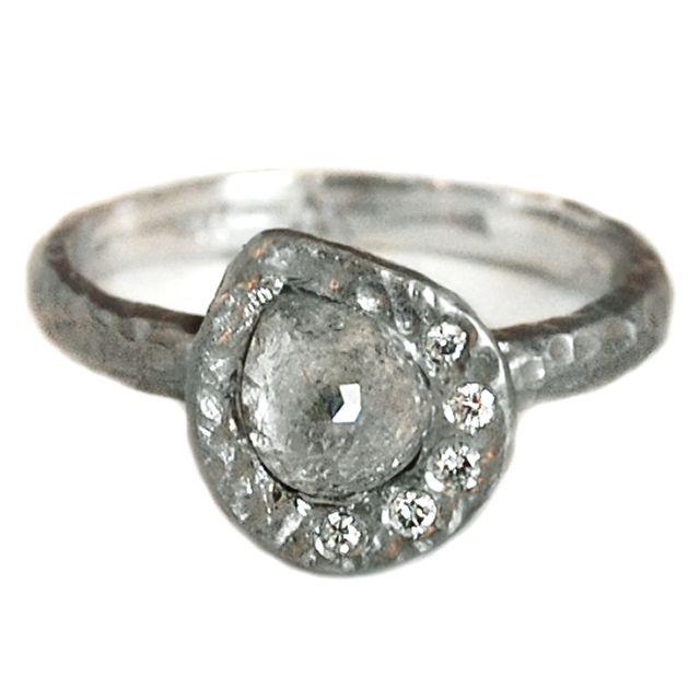 Raw Diamond Asymmetrical Halo Ring         Raw Diamond Asymmetrical Halo Engagement Ring     14k palladium gold and diamonds          from $2800