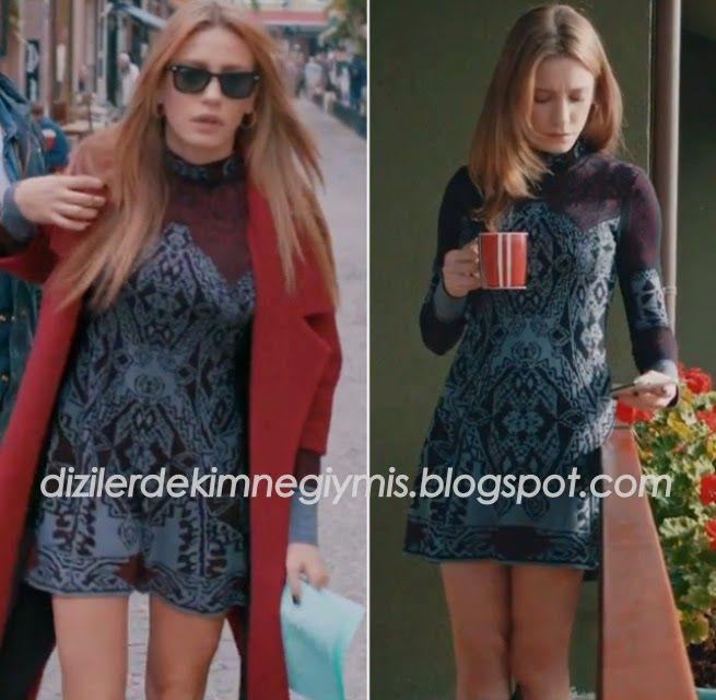 Medcezir - Mira (Serenay Sarıkaya), Burgundy Coat and Mini Dress