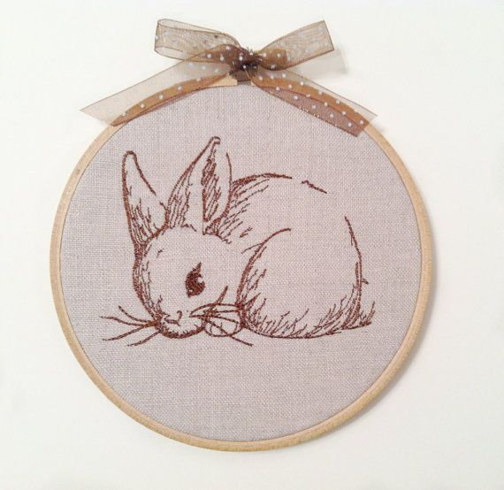 Brown Bunny embroidery hoop art wall decor