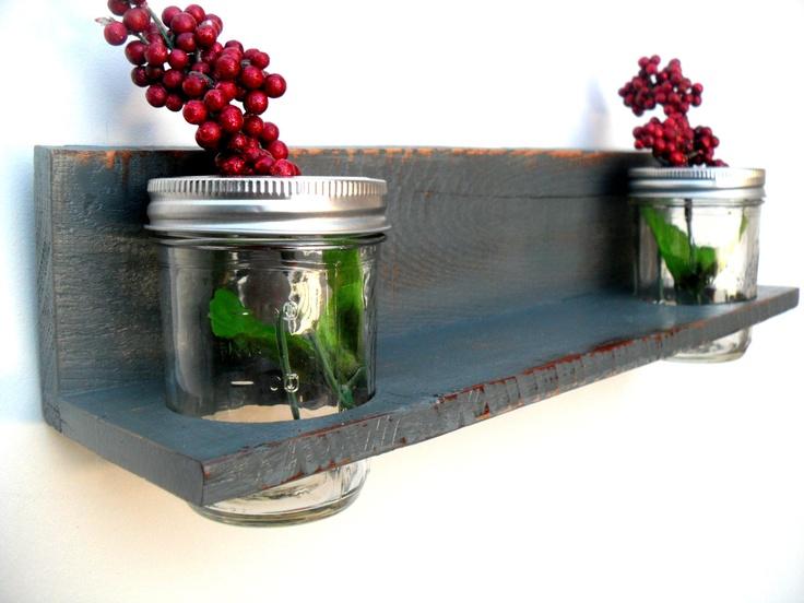 Shabby Chic Wall Hanging Shelf With Mason Jars Reclaim Pallet