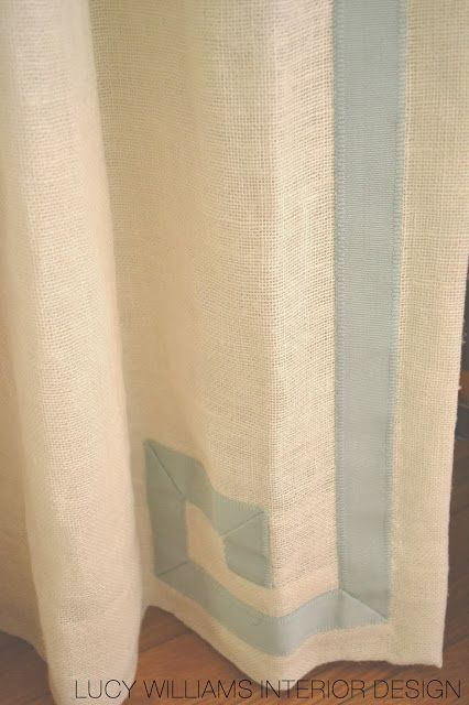 large grosgrain makes a Greek key trim on the leading edge of these curtains via LUCY WILLIAMS INTERIOR DESIGN BLOG: BEFORE AND AFTER: RICHMOND LIVING ROOM SNEAK PEAK