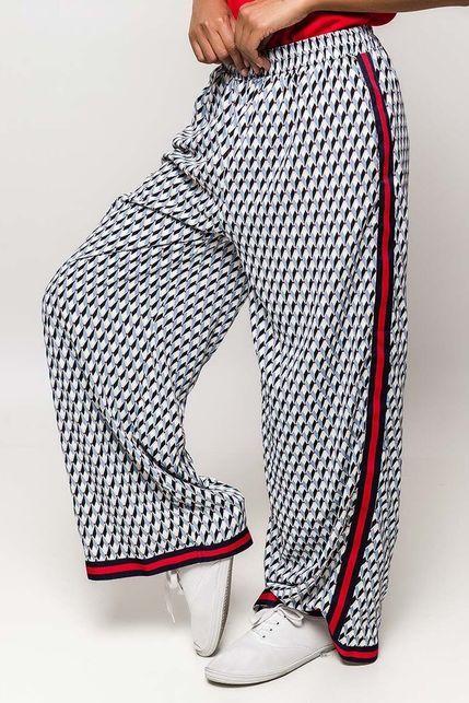 58f8a932d7a7 Modré vzorované dámske nohavice s pásikom