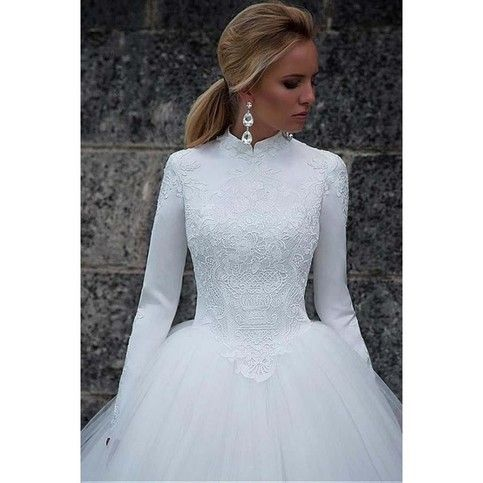 Vintage Satin High Collar Natural Waistline Ball Gown Wedding Dress,118