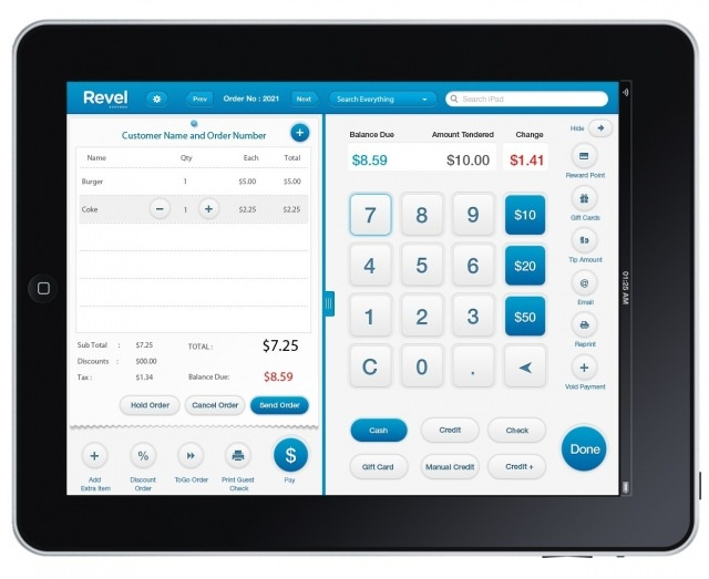 iPad Point of Sale on 3G, Revel Systems (UI design) screen shot 1