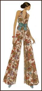 1971 Halter jumpsuit sometimes called a catsuit and with wide flared trouser legs.