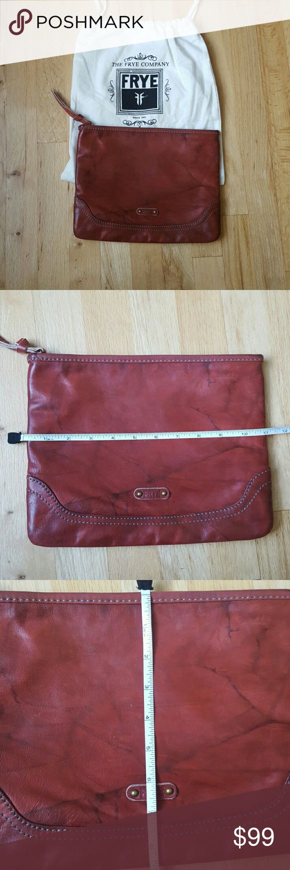 Frye Campus clutch - saddle Like new condition.  Comes with dust bag.  Clean on the inside.   Gorgeous frye quality clutch.  Great for small electronics, mini ipad, kindle, etc.  Measurements shown in pictures Frye Bags