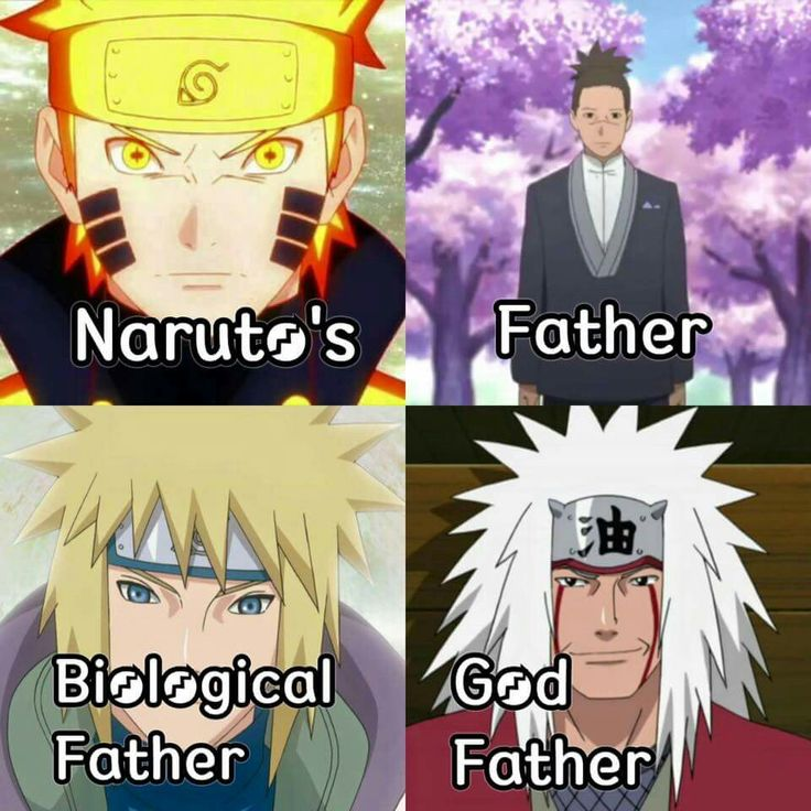 Iruka, Naruto's dad at his wedding, Minato, Naruto's real dad, and Jiraiya, Naruto's godfather.
