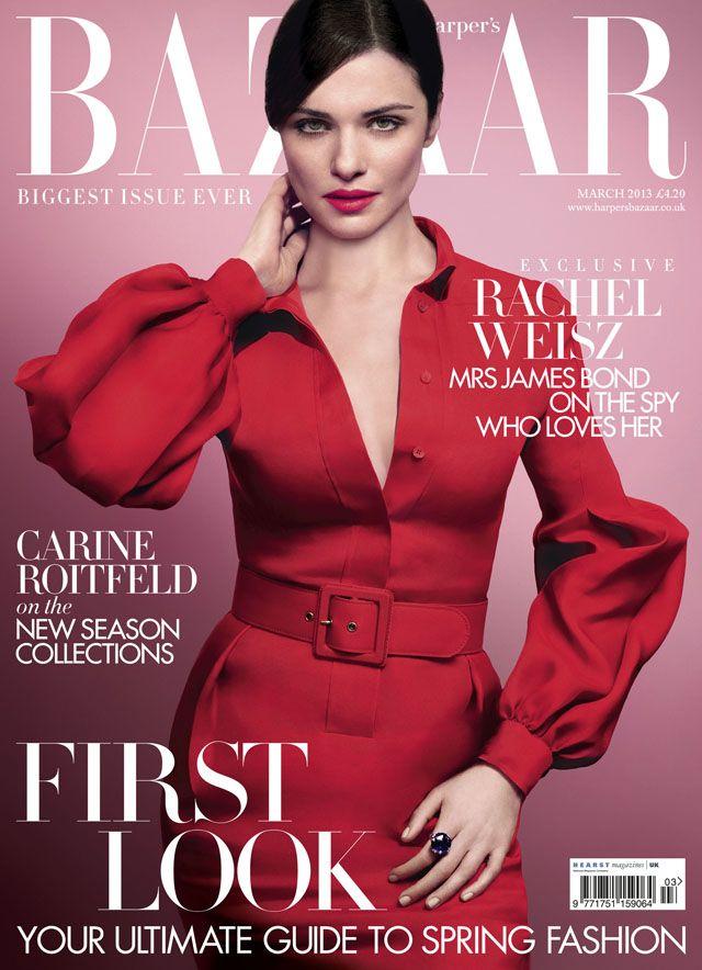 Rachel Weisz on the cover of Harper's Bazaar. I love this dress!