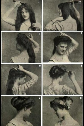 """No written instructions it seems, but still would love to try. """"Edwardian hair"""""""