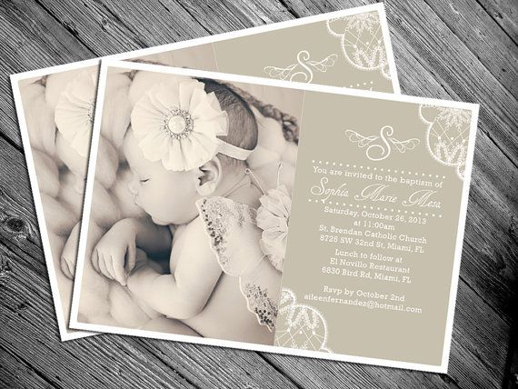 Lace Vintage Baptism Invitation - Other Colors Available on Etsy, $15.00