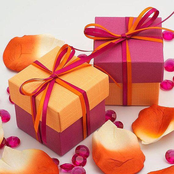 50x Two Tone Square Favour Box Satin Ribbon Favor Diy Kit Orange And Fuchsia Wedding