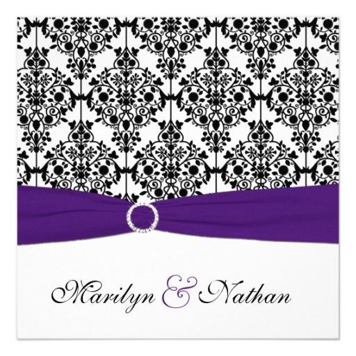 159 best Purple Black White Damask Wedding Invitations images on – Black White and Pink Wedding Invitations