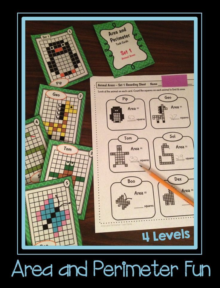 4 Levels - from Beginners to Advanced.          Level 1 - Animal Areas (counting squares).   Level 2 - Perimeter Puzzles (counting).        Level 3 - Rectangle Roundup (area/perim. of rectangles, applying formula).                       Level 4 - Challeng