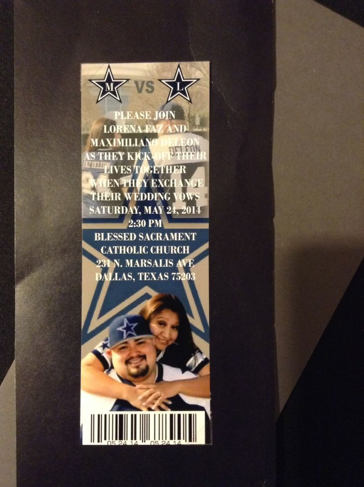Dallas Cowboys Ticket Wedding Invitation