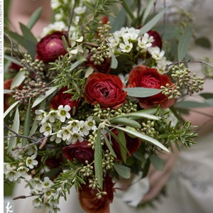 rosemary for remembrance, seeded eucalyptus, olive leaves, wax flowers, ranunculas