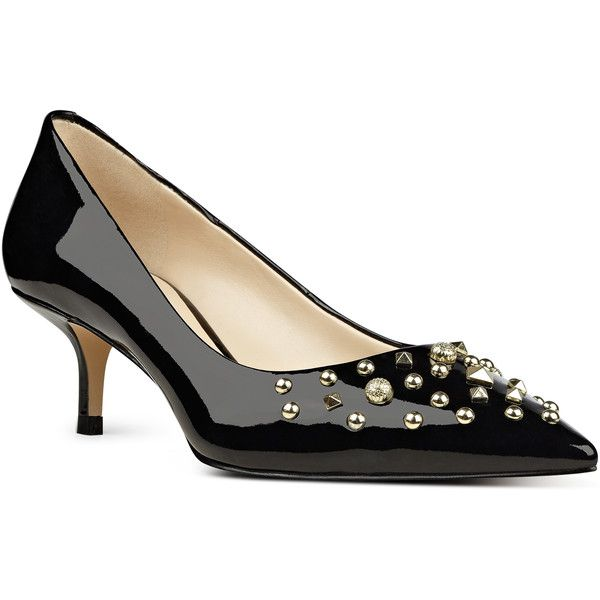 Nine West Fault Kitten Heels ($50) ❤ liked on Polyvore featuring shoes, pumps, black synthetic, evening pumps, pointy-toe pumps, kitten heel pumps, black evening shoes and black shoes