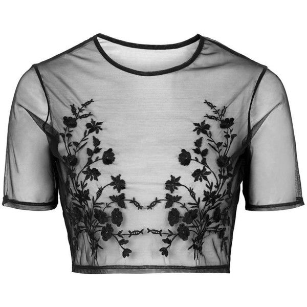 TopShop Embroidered Mesh Crop Top (£32) ❤ liked on Polyvore featuring tops, crop tops, shirts, black, topshop, black floral top, mesh shirt, sheer mesh top, embroidered shirts and floral top