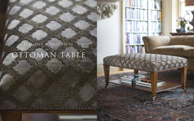 Ottoman table covered in hand embroidered goat skin. A proof that luxury can be practical.