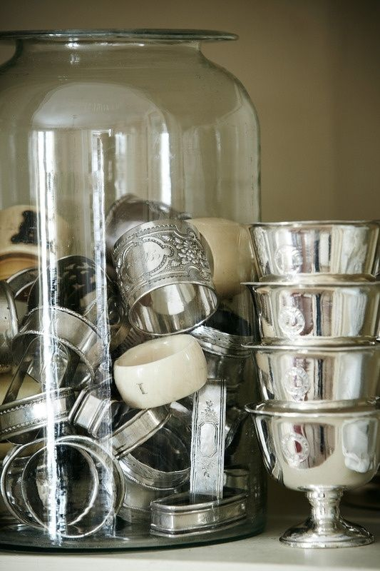 collection of silver napkin rings, set of hotel silver bowls