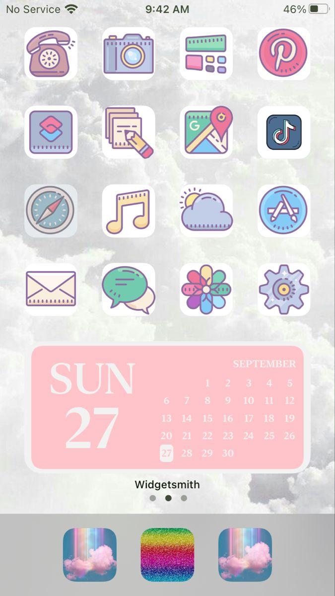 Aesthetic Widget Ios 14 Home Screen Homescreen Iphone Rainbow