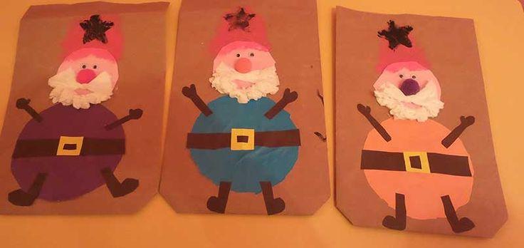 Okul öncesi yılbaşı süsleri. Anaokulu Noel Baba yeni yıl kart çalışması