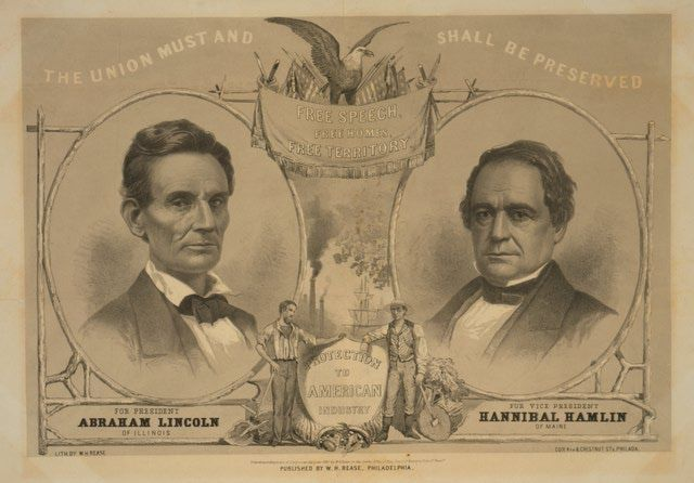 Images of Abraham Lincoln and the 1860 Campaign for President: Lincoln and Hamlin On a Campaign Banner