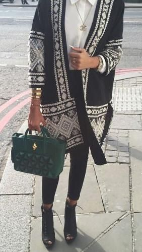 fall street style. ethnic pattern cardigan.