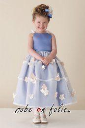 """""""Juicy""""- Elégante robe demoiselle d'enfant en satin et mousseline avec une jupe parsemé de petite fleurs."""