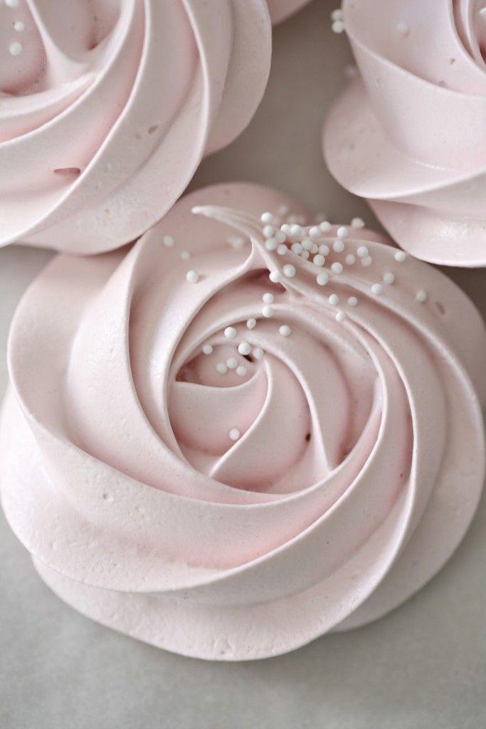 Meringue Rose Cookies Wilton 1-M nozzle White nonpareils