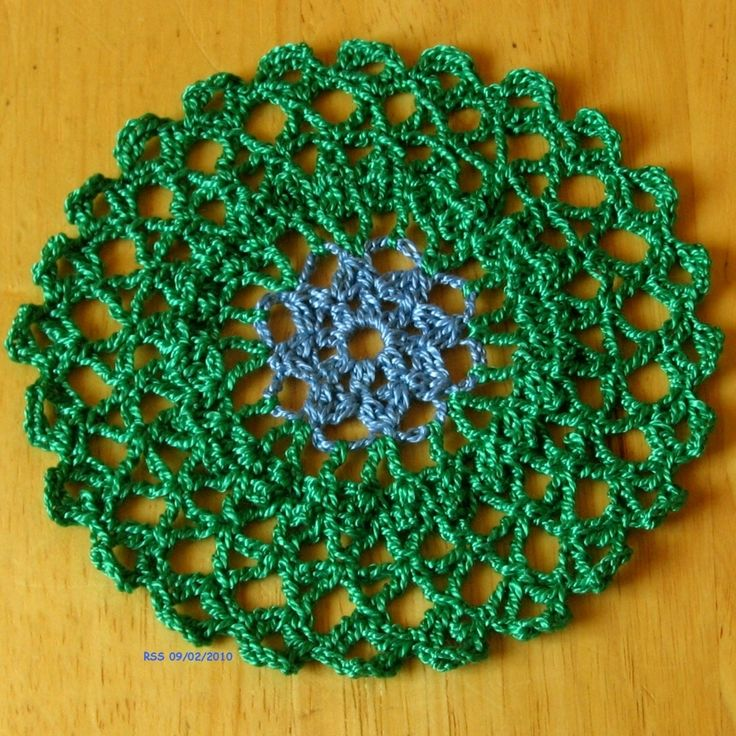 #Blue in #Green -- Blue Flower in Emerald Green -- Inspired by #Nature - saw these little blue flowers on my Rosemary Plant in my garden and I loved the color combination, so I made these little Coaster-Size Doilies!  Set of 2 and Custom Orders Available -- #Handmade #Crochet #Decor by @rssdesignsfiber of RSS Designs In Fiber ~~~ See all the pictures at the listing including the photo of my Rosemary Plant!
