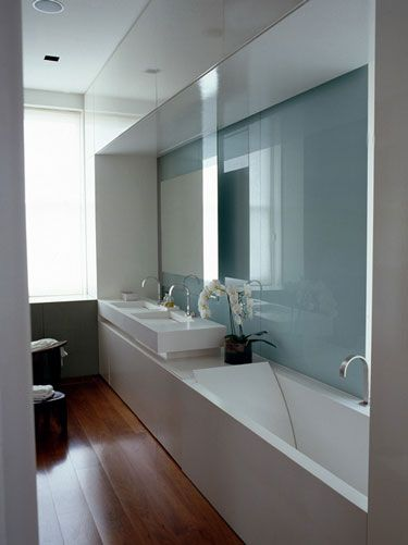 Narrow bathroom inspiration: http://www.myhomerocks.com/2012/02/compact-bathrooms-great-things-come-in-small-packages/