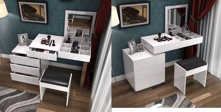 design de coiffeuse moderne blanc avec de nombreux espaces de rangement