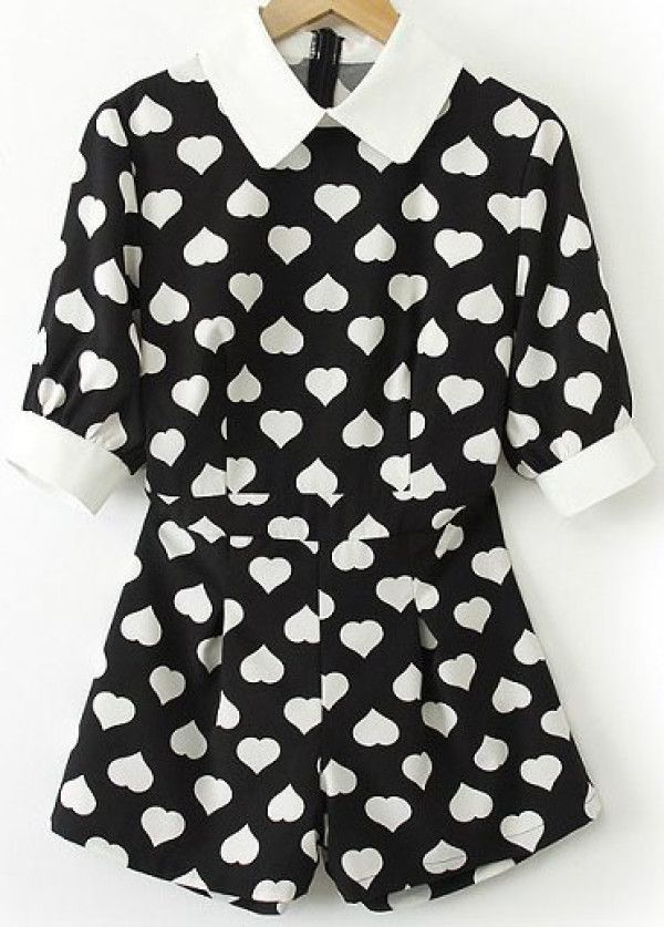 8c5cf63ec Black Contrast Lapel Short Sleeve Hearts Print Jumpsuit -SheIn ...