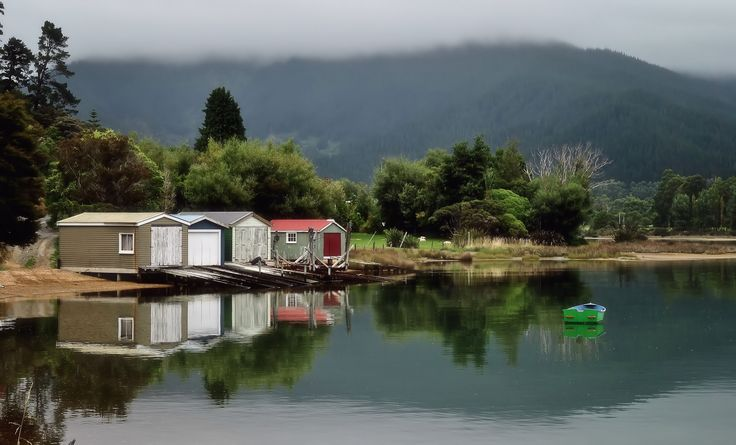 Boat houses at Grove, Queen Charlotte Sound NZ. Photo by Marie Adamson.