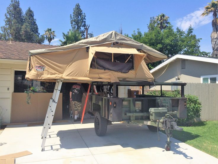 tuff stuff 4x4 roof top tent installed on a m1102 trailer