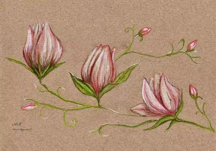 kwiaty, kredka, makulaturowe tło