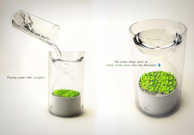 超迷你桌上型溫室 讓你不會忘記澆水的沙漏盆栽「Lives Glass」 | 大人物