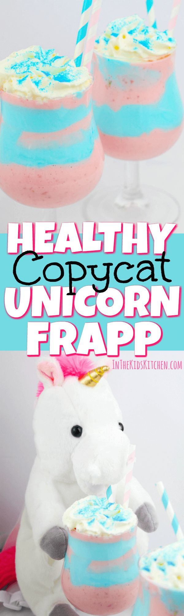 A healthy copycat of Starbuck's Limited Edition Unicorn Frappuccino that you can feel good about giving your kids. High in protein & calcium, low in sugar.