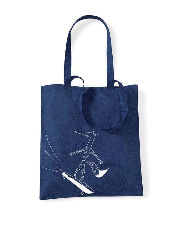 Skater girl tote fox skateboard bag shopper bag by ARTsyClothing