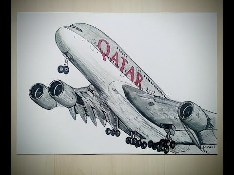 Drawing An Airplane Qatar A380 Youtube Airbus In 2019