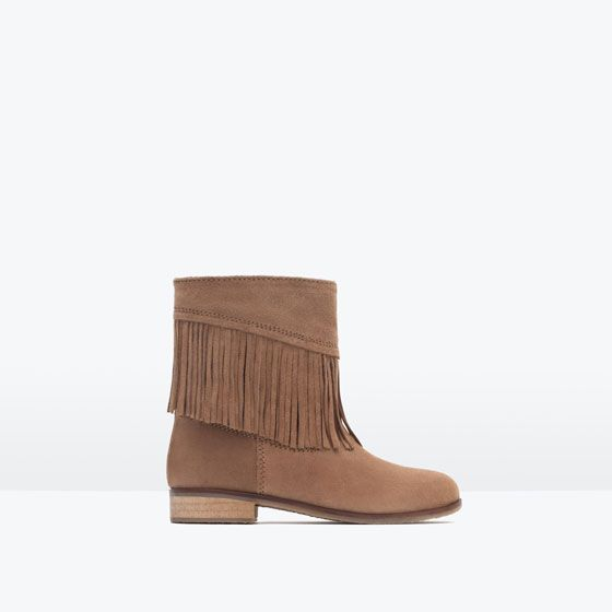 FRINGED SPLIT SUEDE ANKLE BOOTS from Zara Girls
