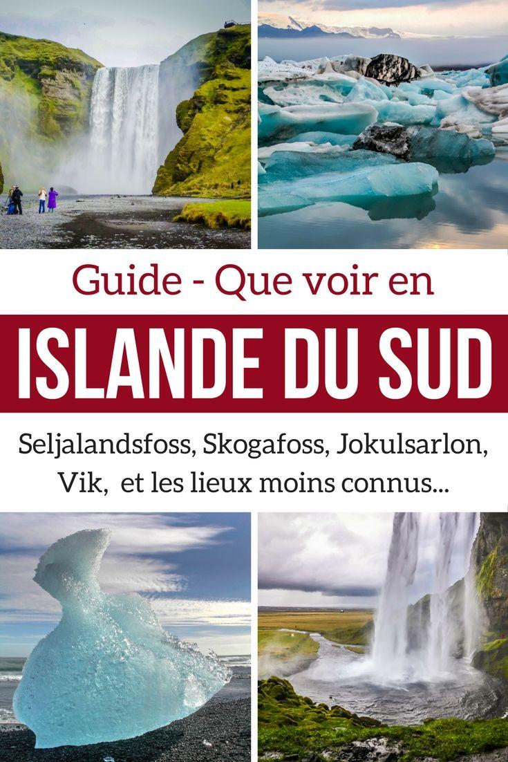 Découvrez les magnifiques paysages d'Islande du Sud avec les principaux lieux d'intérêt tels que les cascades de Seljalandsfoss et Skogafoss our le lagon glaciaire de Jokulsarlon. Photos, video et infos pour planifier votre voyage l Islande Paysage | Islande Voyage | Islande itinéraire