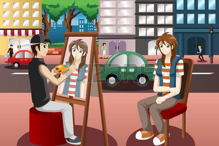 A vector illustration of street painter drawing people face