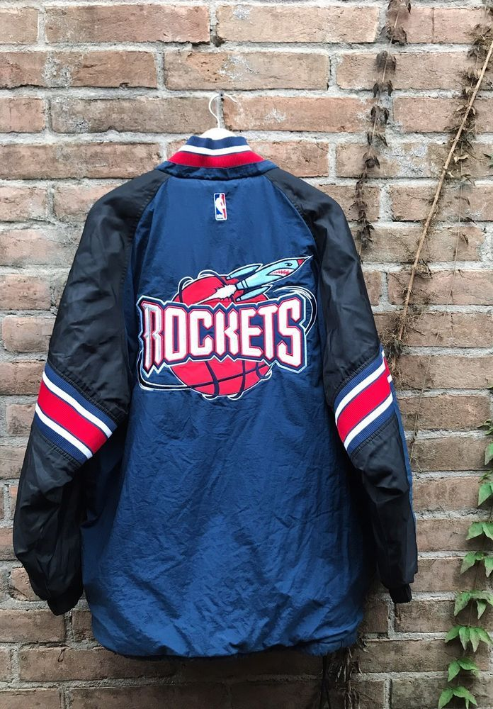 452f512df VINTAGE NBA HOUSTON ROCKETS STARTER JACKET Puffer Blue Red Big Logo Men s  Large